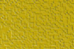 Gouden of Geel Abstract 3d Geometrisch Kubus Achtergrondontwerppatroon Stock Foto