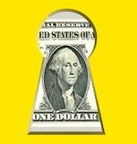 Gouden geheimen van bedrijfssucces Geld door sleutelgat Royalty-vrije Stock Afbeelding