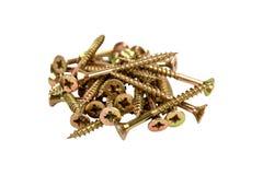Gouden-gekleurde schroeven Royalty-vrije Stock Foto