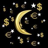Gouden geldmaand Stock Fotografie