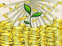 Gouden geldstapels met groene spruit van rijkdomboom Gouden muntstukken Retro vectorillustratie van de glanzende rijkdom Stock Afbeeldingen