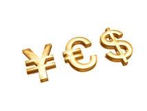 Gouden geldsymbolen Stock Foto's