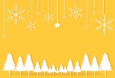 Gouden gele het document van de Kerstmisdag de sterbackgrou van de prentbriefkaarsneeuwvlok stock illustratie