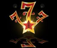 Gouden gelukkige zeven gokautomaatPot   Stock Afbeelding