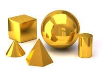 Gouden geometrische voorwerpen Stock Afbeelding
