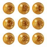 Gouden geplaatste cryptocurrencymuntstukken Royalty-vrije Stock Afbeelding