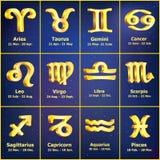 Gouden geplaatste Dierenriempictogrammen Royalty-vrije Stock Afbeeldingen