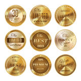 Gouden geplaatste etiketten Stock Foto's