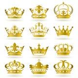 Gouden geplaatste kroonpictogrammen Stock Afbeeldingen