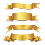 Gouden Geplaatste linten, Banners Royalty-vrije Stock Afbeeldingen