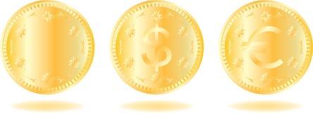 Gouden geplaatste muntstukken Stock Afbeelding