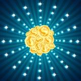 Gouden geplaatste muntstukken en schitterende lichten vector illustratie