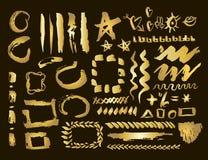 Gouden geplaatste ontwerpelementen Borstelslagen en grenzen Gouden vlekreeks Vector illustratie vector illustratie