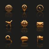 Gouden geplaatste Webpictogrammen Stock Afbeeldingen