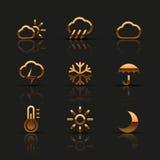 Gouden geplaatste weerpictogrammen Royalty-vrije Stock Afbeelding