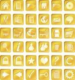 Gouden geregelde pictogrammen Stock Foto