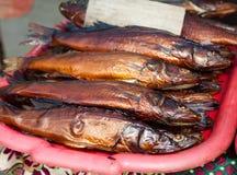 Gouden gerookte vissen op de teller in de landelijke markt in de zon Royalty-vrije Stock Foto's