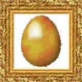 Gouden geschilderd ei op doek in goud gegraveerd kader vector illustratie