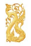 Gouden gesneden die hout op wit wordt geïsoleerd Stock Fotografie