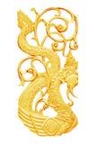 Gouden gesneden die hout op wit wordt geïsoleerd Royalty-vrije Stock Fotografie