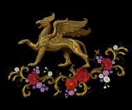 Gouden geweven textiel het flardontwerp van de borduurwerkgriffioen vector illustratie