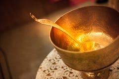 gouden gietlepel Stock Afbeeldingen