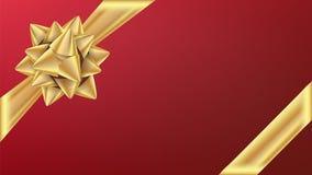 Gouden Gifr-Lint met Boogvector Giftelement voor kaartontwerp Vakantie Achtergrondillustratie vector illustratie