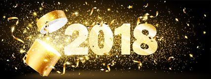 Gouden gift met confettien 2018 royalty-vrije illustratie