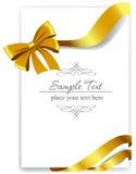 Gouden giftboog met linten Royalty-vrije Stock Afbeelding