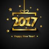 Gouden giftdoos met kaart van de het Nieuwjaargroet van 2017 de Gelukkige Royalty-vrije Stock Afbeeldingen