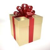 Gouden giftdoos met rood lint Stock Afbeeldingen