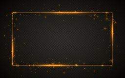 Gouden glanzend schittert gloeiend uitstekend kader met lichteffecten Glanzende rechthoekbanner op zwarte transparante achtergron stock illustratie