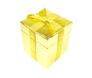 Gouden glanzende giftdoos Royalty-vrije Stock Fotografie
