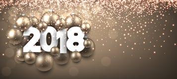 Gouden glanzende 2018 Nieuwjaarbanner Royalty-vrije Stock Afbeelding