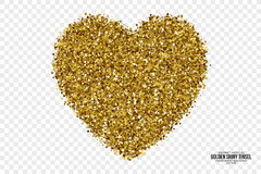 Gouden Glanzende Tinsel Heart Vector Background Stock Afbeelding