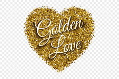 Gouden Glanzende Tinsel Heart Vector Background Royalty-vrije Stock Fotografie