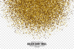 Gouden Glanzende Tinsel Square Particles Vector Background Stock Foto's
