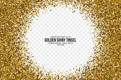 Gouden Glanzende Tinsel Square Particles Vector Background Stock Foto