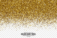 Gouden Glanzende Tinsel Square Particles Vector Background Stock Fotografie