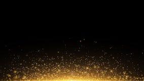 Gouden gloeiend stof op een zwarte horizontale achtergrond Backlight van de bodem Malplaatje voor het project Fonkelingspunten, r vector illustratie