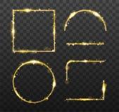 Gouden gloeiende kaders en elementen met glanzende vonken Decoratief element voor banner of malplaatjes op transparant vector illustratie