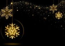 Gouden Gloeiende Kerstmissneeuwvlokken Royalty-vrije Stock Foto