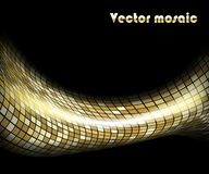 Gouden golfmozaïek op zwarte vector illustratie