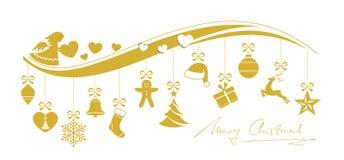 Gouden golvende Kerstmisgrens Stock Afbeelding