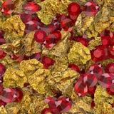 Gouden Goudklompjes en Robijnen Naadloze Textuurtegel royalty-vrije stock fotografie