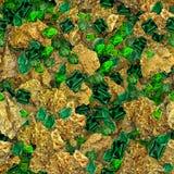 Gouden Goudklompjes en Smaragden Naadloze Textuurtegel royalty-vrije stock foto