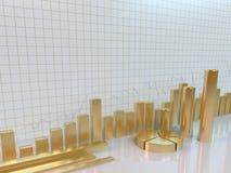Gouden grafiek bedrijfsconcept Stock Foto's