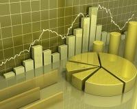 Gouden grafieken bedrijfsconcept Stock Foto's