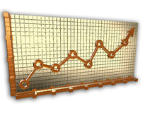 Gouden grafiekpijl Stock Afbeeldingen