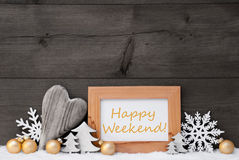 Gouden Gray Christmas Decoration, Sneeuw, Gelukkige Weekende Stock Afbeeldingen